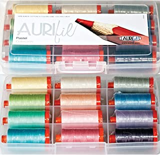 Aurifil Thread Set Pastel Collection 50wt Cotton 12 Large (1422 yard) Spools