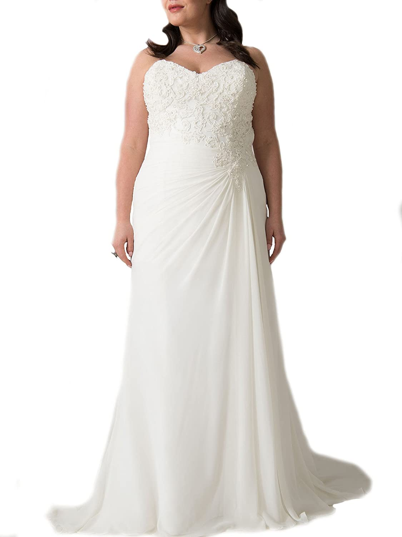 WeddingDazzle Sweetheart Strapless Appliques Beaded Plus Size Wedding Dress  Beach Wedding Gowns