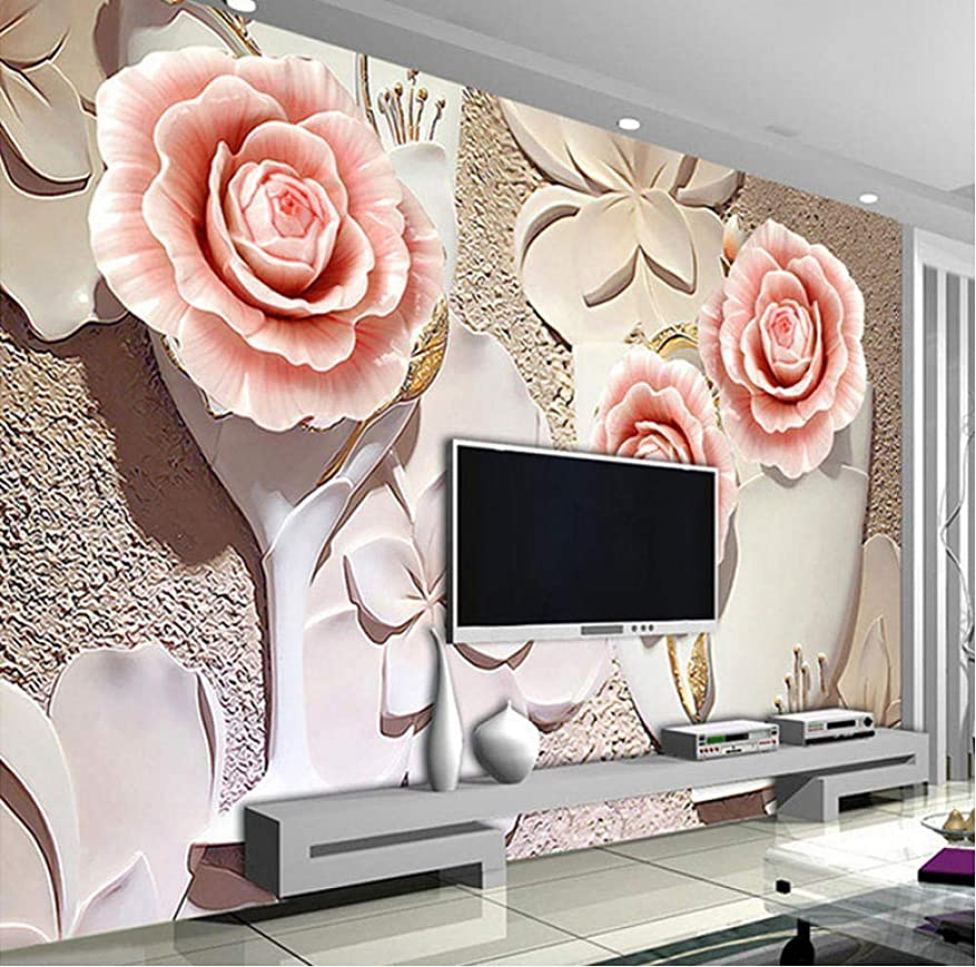 カビ研磨剤タッチLcymt カスタムサイズのモダンなシンプルな3D花壁画深いエンボス壁紙リビングルームの寝室の背景壁家の装飾-350X250Cm