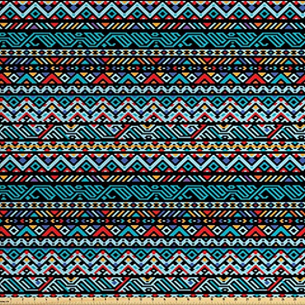 Lunarable Native American Fabric by The Yard, Colorful Ethnic Geometric Mexican Pixel Art Pattern Indigenous Native Style, Decorative Fabric for Upholstery and Home Accents, 2 Yards, Multicolor