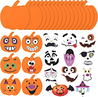 16 Kits Halloween Foam Pumpkin Craft Kits Foam Pumpkin Stickers Halloween Stickers for Kids Crafts Halloween Decoration