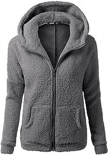 JESPER Women Sherpa Sweater Coat Winter Warm Wool Zipper Coat Cotton with Pocket Hooded
