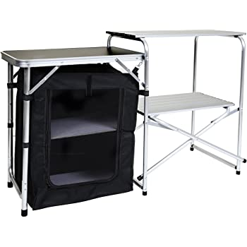 Camping Kitchen Stand Aluminium Storage Unit portable Cooking Windshield Pop up