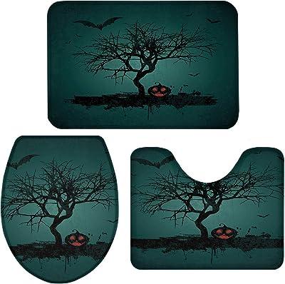"Infinidesign Halloween Bathroom Accessories Set of 3 with Non-Slip U-Shaped Rug, Toilet Lid Cover, Sponge Bath Mat 20""x31""+16""x18""+16""x20"", Pumpkin Night with Bats"