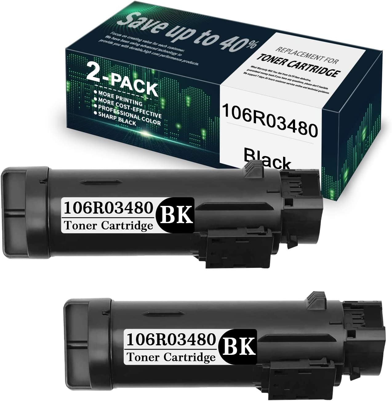 2-Pack Black unisex 106R03480 Compatible fo Toner Tampa Mall Cartridge Replacement