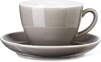"""Abbott Collection 27-AVENUE-03-GRY Diner Latte Cup&Saucer-Gry-3""""(9oz), 3 inches high, Grey"""