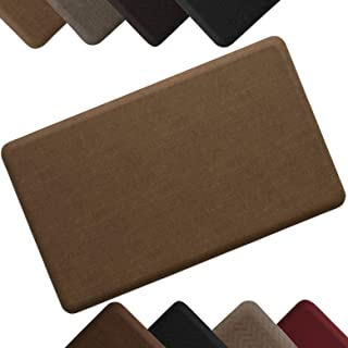 """NewLife by GelPro Anti-Fatigue Designer Comfort Kitchen Floor Mat Stain Resistant Surface with 5/8"""" thick ergo-foam core for health and wellness 18x30 Grasscloth Khaki"""
