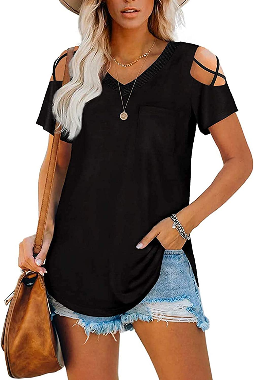 Aukbays Womens Tops Summer T Shirts Short Sleeve Tunic Strappy Cold Shoulder Shirts Solid Color with Pocket Tees Blouses