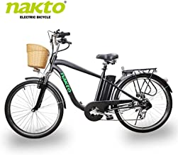 "NAKTO Electric Bike City Electric Bikes for Adults 6 Speed Ebike (220W/250W/300W/500W) with 36V10AH/48V12AH Removable Lithium Battery and 1 Year Warranty, (20""/22"