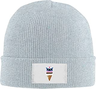 Men Women Automaton Ice Cream Warm Stretchy Knit Wool Beanie Hat Solid Daily Skull Cap Outdoor Winter