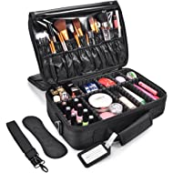 MelodySusie Travel Makeup Bag Makeup Train Case Potable Cosmetic Organizer Case 3 Layers with...