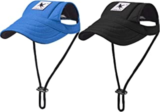 2 Pieces Dog Baseball Caps Dog Visor Hats Pet Outdoor Sports Hats with Ear Holes and Sun Protection Pet Baseball Caps with...