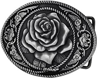 Vintage Rose Decorative Belt Buck Snap On Antique Western