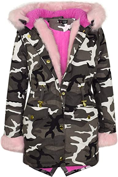 A2Z 4 Kids Kids Girls Designers Camouflage Hooded Faux Fur Parka School Jackets Outwear Coats New Age 2 3 4 5 6 7 8 9 10 11 12 13 Years
