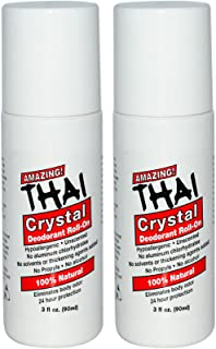 Thai Crystal Deodorant Stone All Natural Roll-On Deodorant For Body, Face and Feet -- Unscented, Aluminum Free & Organic W...