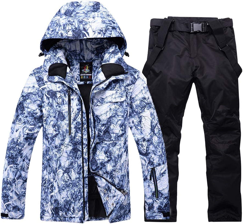 Liyuke Men's Ski Suit Outdoor Snow Jacket+Pants,Windproof Warm Snowboard Suit 2019