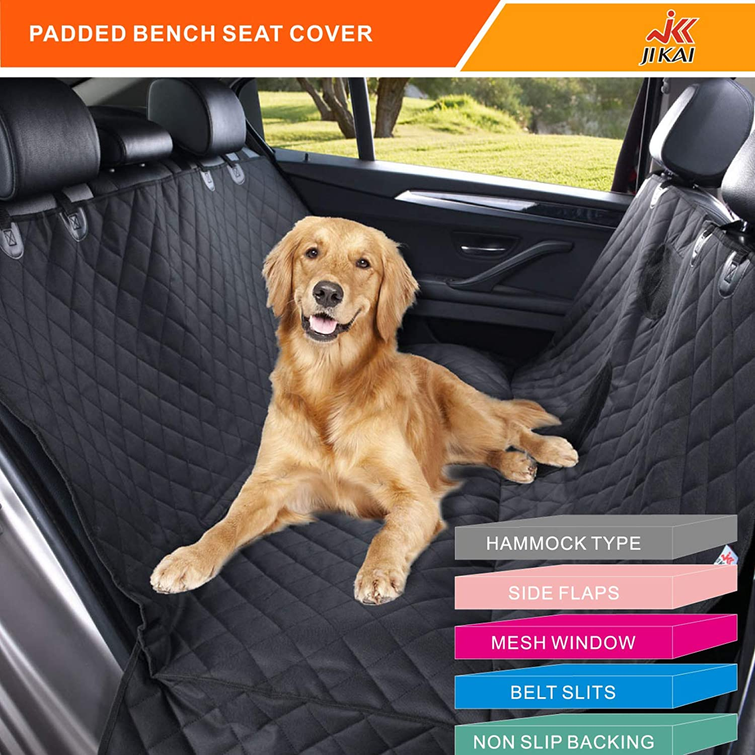 JK JI KAI Pet Seat Cover for Dog Suitable for Back seat of Trucks SUV Trunk Hammock and Waterproof in Complete Padded 600d Oxford (6064 inches, Black)