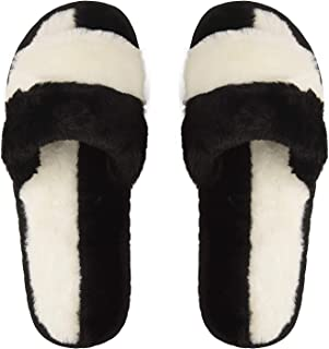 DRUNKEN ILU Slipper for Women's Flip Flops Fur Winter House Slides Home Indoor Outdoor Black Sandals