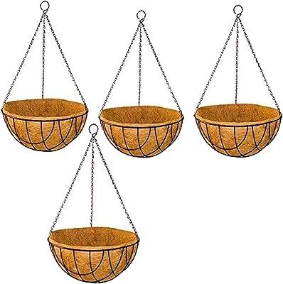 Sparkenzy Coir Hanging Basket | 8 inch | 4 Piece | Rust Resistant | Thick Finest Coir Fiber