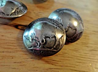 1 Sewing 21mm US 5 Cents Buffalo Indian Head Nickel Made into Real Silver Button DIY Crafting by Wholesale Charms