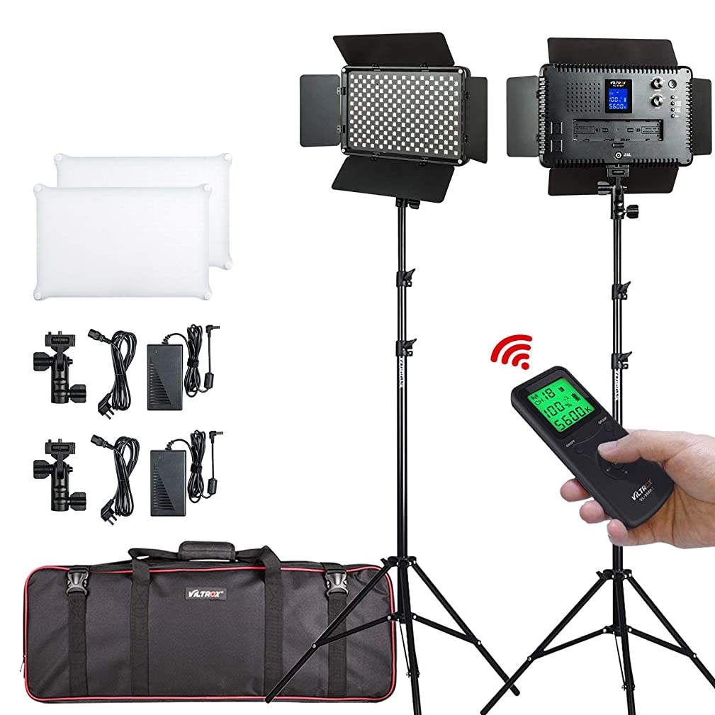 VILTROX 2 Packs LED Video Light with 2.4GHz Remote Control,Bi-Color Variable 3300K-5600K, LCD Display,Dimmable,CRI 95 Lamp+Barndoor w/ 75 inches Light Stand for Studio Photography, Video Shooting