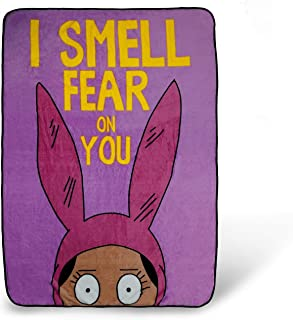 Surreal Entertainment Bob's Burgers Louise Throw Blanket | I Smell Fear On You Quote | Collector's Large Pink Blanket | 64 x 44 Inches