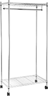 AmazonBasics Garment Hanging Rolling Rack with Top and Bottom Shelves - Chrome