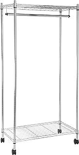 AmazonBasics Garment Hanging Rolling Rack with Top and Bottom Shelves - Chrome