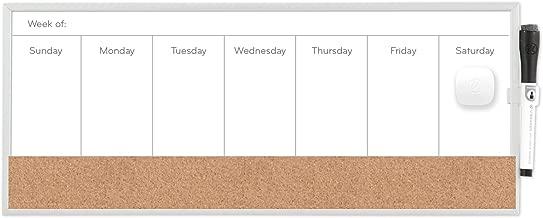 U Brands Magnetic Dry Erase/Cork Weekly Calendar Board, 18 x 7.5 Inches, Silver Aluminum Frame (362U00-04)