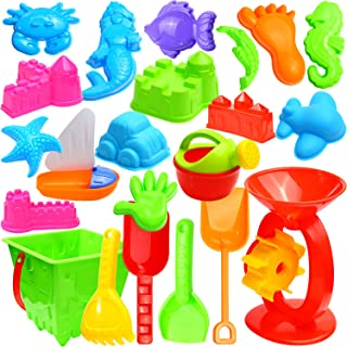 Ohuhu 22 Pcs Beach Sand Toys Set, Beach Toys with Zippered Bag, Include Beach Molds, Sand Molds, Bucket, Beach Shovel Tool Kit, Sand Water Wheel, Animals, Castle, for Toddlers, Kids, Children Outdoor