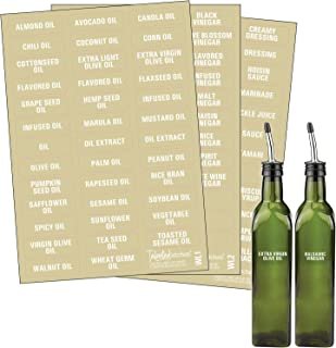 Talented Kitchen 114 White Oils, Vinegars & Liquids Label System: 114 Names of Oils, Vinegars, Sauces Syrups & Blank Labels. Clear Sticker, White Font. Preprinted Stickers