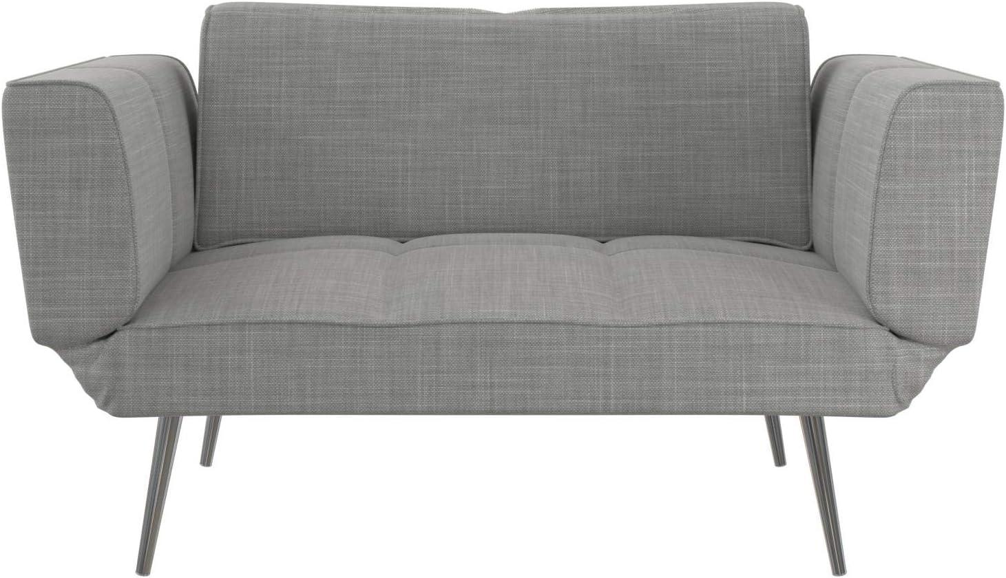 Novogratz Leyla Loveseat with Magazine Storage Adjustable Sofa Bed Armrests to Convert into a Couch Sleeper Light Gray Futon
