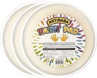Jumbo Round Blank PAD Set of 3 Paint Sponge Pad for Stamp Stamper Roller Sponge Plastic Case Finger Hand Foot Printing Fill Paint Ink Pigment Wash Reusable Palette School Kindergarten Art Class