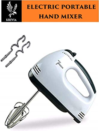 KREVIA 260W Electric Hand Mixer in 7-Speed Stainless Steel Beaters