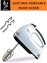 KREVIA 260W Electric Hand Mixer in 7-Speed Stainless Steel Beaters, 1pc(White Color)