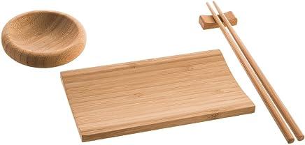 Preisvergleich für Reishunger Sushi Servier Set (4-teilig, für 2 Personen) aus Bambus – das perfekte Geschenk für Sushi Fans