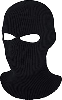 2-Hole Knitted Full Face Cover Ski Mask, Adult Winter Balaclava Warm Knit Full Face Mask for Outdoor Sports