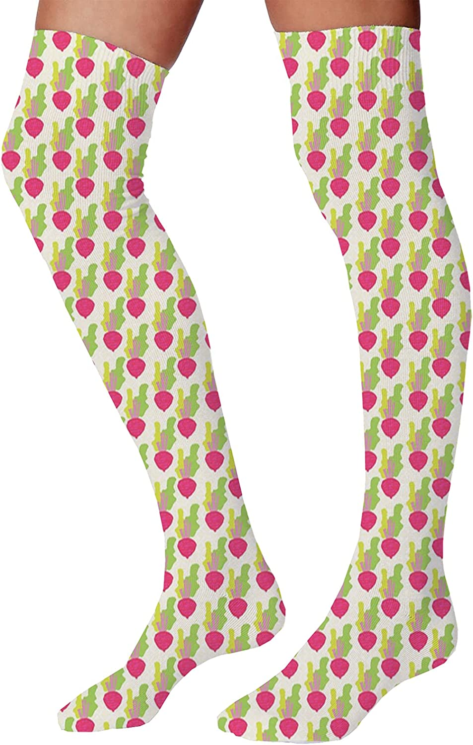 Men's and Women's Fun Socks,Abstract Curled Leaves Artistic Natural Flower Arrangement