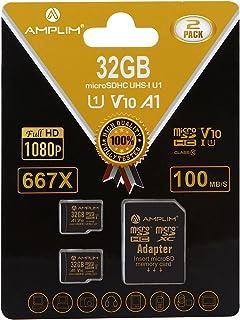 2 Pack 32GB Micro SD SDHC Memory Card Plus Adapter (Class 10 U1 UHS-I V10 A1 Pro MicroSD HC) Amplim 2X 32 GB Ultra High Sp...