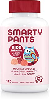 Daily Gummy Multivitamin Kids Cherry Berry: Vitamin C, D3, & Zinc for Immunity, Biotin, Omega 3 Fish Oil, Vitamin E, Iodin...