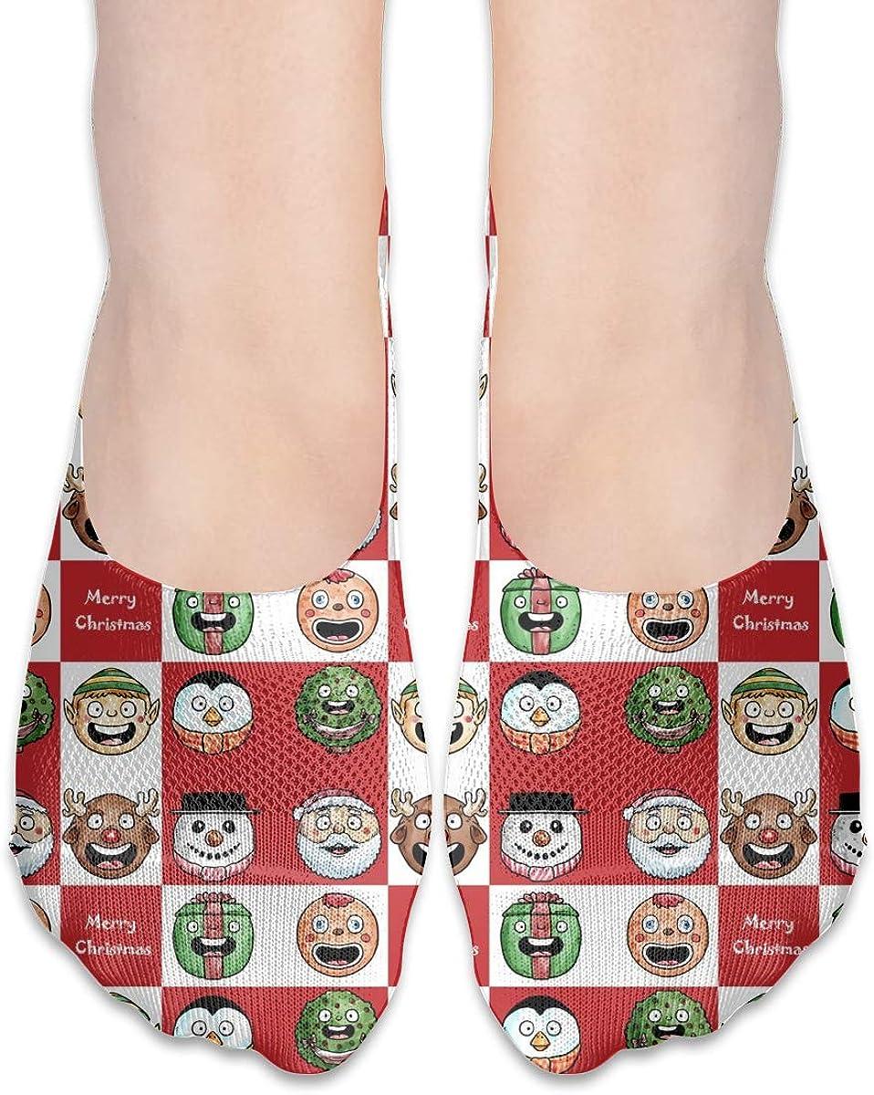 No Show Socks Women Men For Christmas Red Plaid Deer Gift Flats Cotton Ultra Low Cut Liner Socks Non Slip