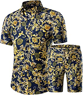 Men's Floral 2 Piece Tracksuit Short Sleeve Top and Shorts