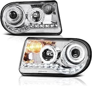 VIPMOTOZ LED Halo Ring Projector Headlight Assembly For 2005-2010 Chrysler 300C (Factory Halogen Model) - Metallic Chrome Housing, Driver and Passenger Side