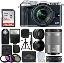 Canon EOS M6 Mirrorless Digital Camera with 18-150mm Lens (Silver) + 64GB Memory Card + Wide Angle & Telephoto Lens + Medium Gadget Bag + Quality Tripod + Slave Flash + UV Filter Kit – Ultimate Bundle