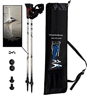 York Nordic White Birch Design Hiking & Walking Poles - Lightweight, Adjustable, and Collapsible -2 Pieces Adjustable w/flip Locks, Detachable feet and Travel Bag