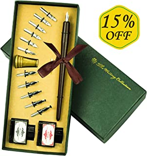 Calligraphy Pen,VIVI SKY Calligraphy Ink Pen, Wooden Dip Pen Kit,Antique Calligraphy Art Set for Beginners Drawing Pens with 12 Nibs and Pen Stand and 2 Bottle Ink for Beginners