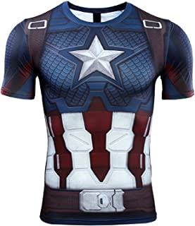 Superhero Captain Team Leader Compression Shirt Sports Gym Running Base Layer