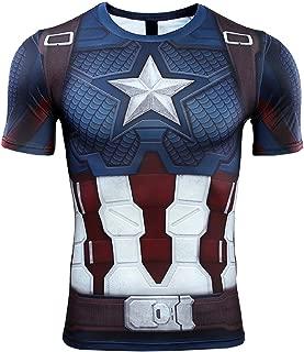 SevenJuly1 Captain Shirt Superhero Shirt Compression Sports Shirt Fitness Gym Base Layer
