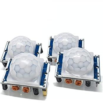 Electreeks ®   PIR Sensor - 4 sensibel einstellbare PIR Bewegungsmelder infrarot HC-SR501 12V (4,5V - 20V DC) - Original für Arduino & Raspberry Pi - Set 4 Stück