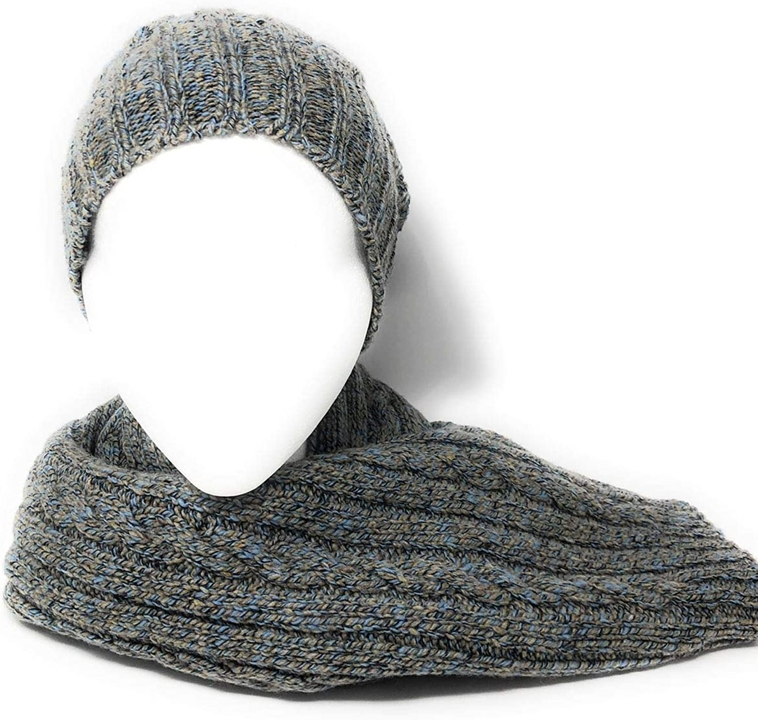 Cashmere and Merino Blend Chunky Cable Knit Slouch Beanie & Scarf Set  Grey Marl